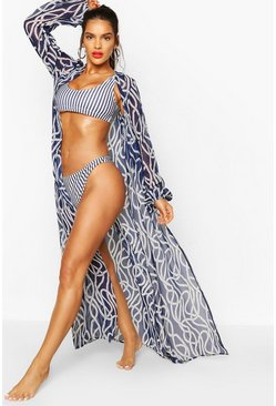 Navy Nautical Rope Print Maxi Beach Kimono