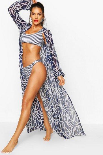 Navy Nautical Rope Print Maxi Beach Kimono