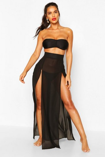 Black Split Leg Maxi Beach Skirt