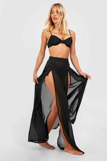 Black Split Leg Maxi Beach Skirt