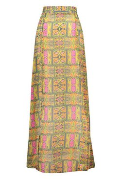 Yellow Tropical Tile Print Split Leg Maxi Beach Skirt