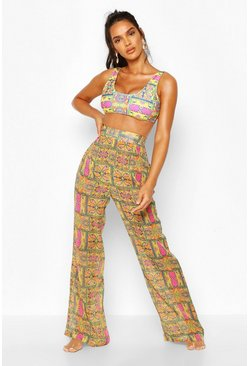 Yellow Wide Leg Beach Pants