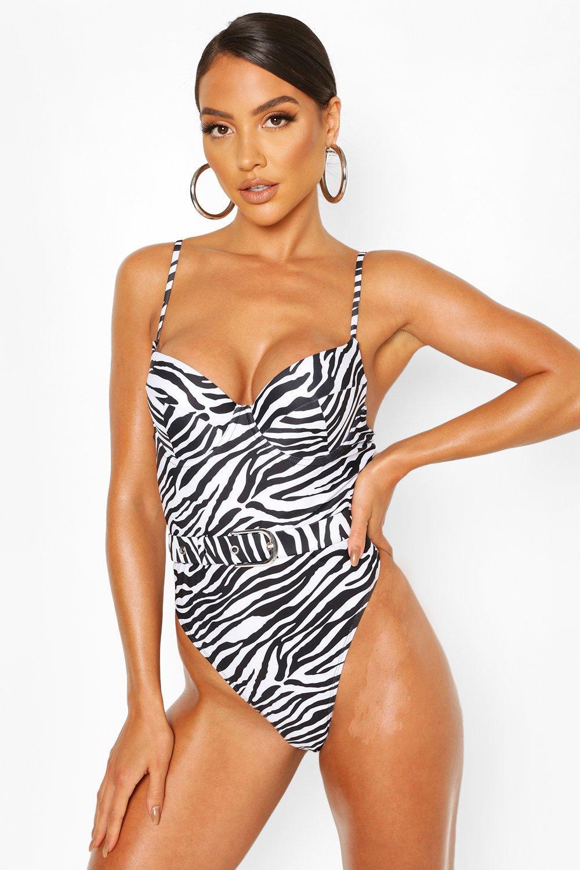 Swimwear Zebra Underwired Belted Swimsuit