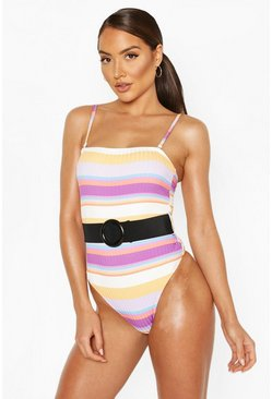 Yellow Petite Ribbed Textured Square Neck Belted Swimsuit