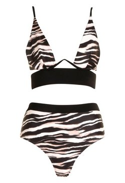 Black Safari Zebra Mono Wire High Waist Bikini
