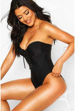 Black Lace Up Underwired Swimsuit with Removable Straps