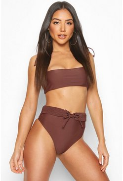 Chocolate brown Plaited High Waist Belt Bandeau Bikini