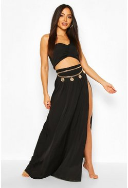 Black Asymetric Split Leg Beach Two-Piece