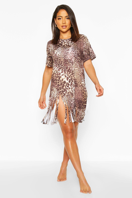 WOMENS Leopard Tassel Beach Dress