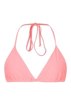 Coral Mix and Match Triangle Bikini Top