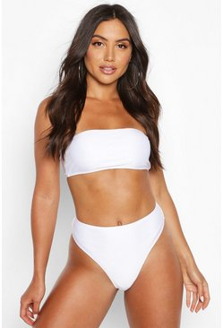 Top de biquini palabra de honor Mix & Match, Blanco