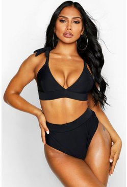 Black svart Triangelbikini med cut-outs