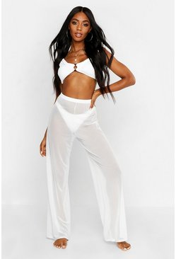 Ivory white Mesh Beach Pants