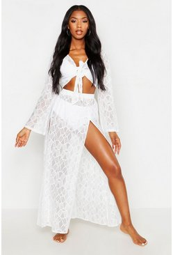 White Lace Tie Front Top & Maxi Skirt Beach Two-Piece