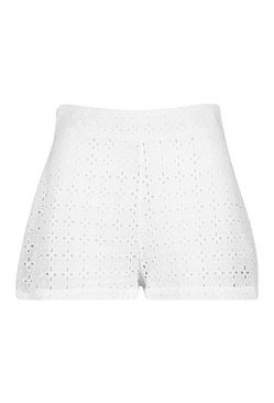 White Broderie Anglaise Beach Shorts