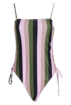 Pink School Stripe Square Neck Swimsuit