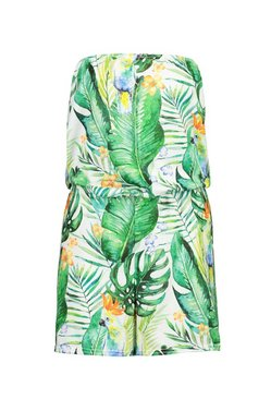 Green Tropical Parrot Jersey Beach Playsuit