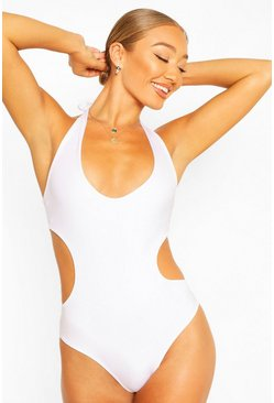 White Cut Out Halterneck Swimsuit