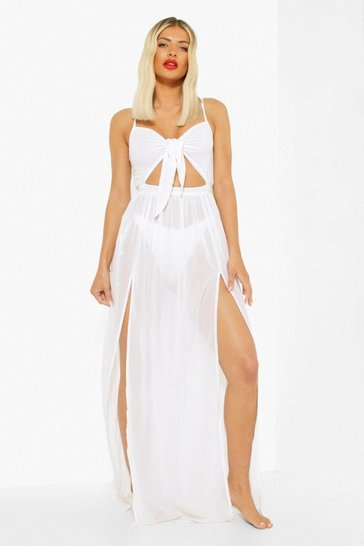 White Tie Front Cut Out Beach Maxi Dress