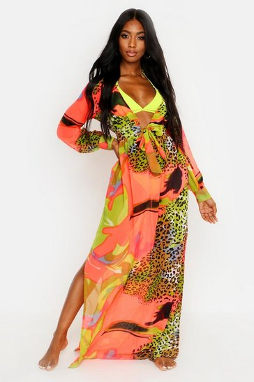 Green Neon Tie Dye Animal Maxi Beach Kaftan