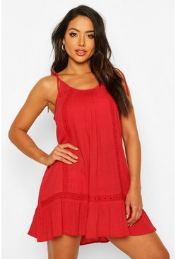 Vestido playero con bordado de Cheesecloth, Red rojo