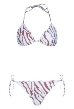 Cream Tiger Tie Triangle Bikini