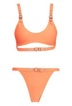 Neon-orange Neon Eyelet Crop Bikini