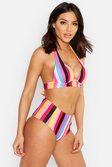 Roze pink Mix & Match Rainbow gestreepte bikinitopje met push-up