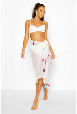 White Tassel Multi Way Beach Sarong
