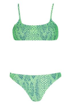 Green Tropical Snake Crop Bikini