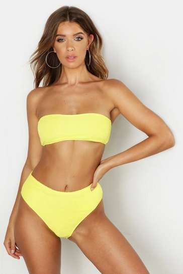 Yellow Mix & Match Crinkle Bandeau Top