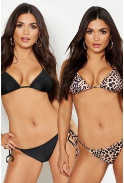 Black svart Triangelbikinis (2-pack)