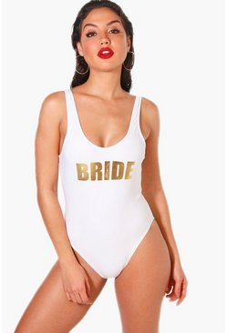 White Bride Slogan Scoop Swimsuit