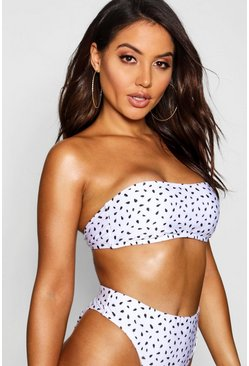 White Mix & Match Spot Bandeau Top