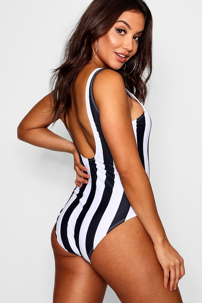 Disney Mickey Mouse Stripe Print Swimsuit   Boohoo UK