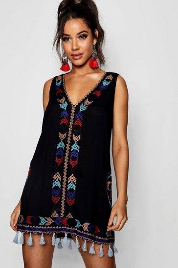 Black Cheese Cloth Embroidered Tassel Sun Dress