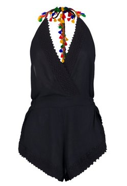 Black Tassel Trim Cheese Cloth Beach Playsuit