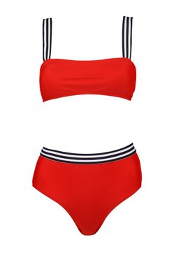 Red Houston Sports Stripe High Leg Bandeau Bikini