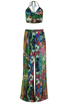 Green Tropical Split Leg Trouser Beach Co-ord
