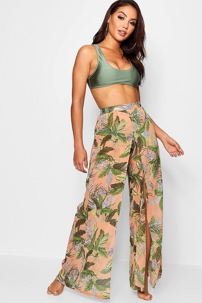 Pantalones Playeros Con Abertura En La Pierna Y Estampado Tropical Boohoo