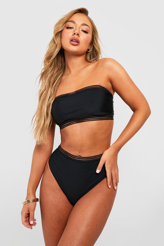 Don't Miss Out Cape Verde Mesh Detail Bandeau High Waisted Bikini