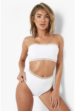 White Cape Verde Mesh Detail Bandeau High Waisted Bikini