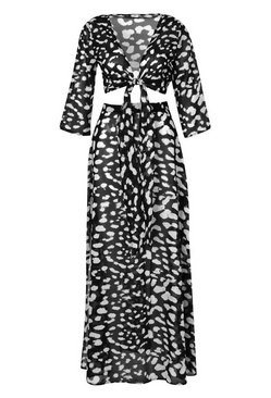 Black Leopard Tie Front Beach Co-ord