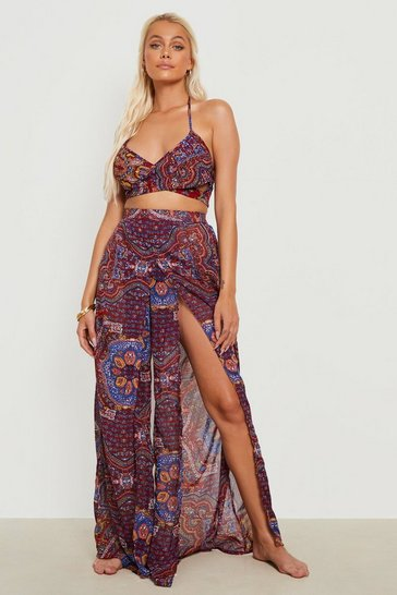 Red Paisley Crop Top & Split Trouser Beach Co-ord