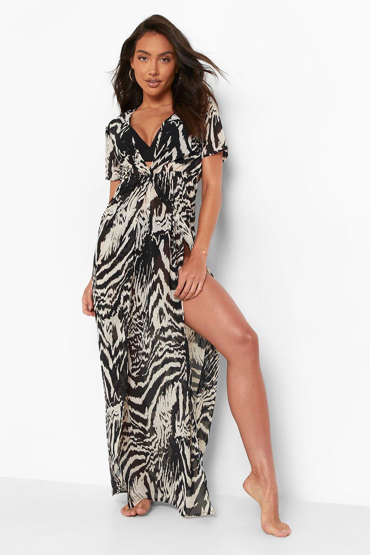 Swimwear Monochrome Zebra Print Maxi Beach Kaftan
