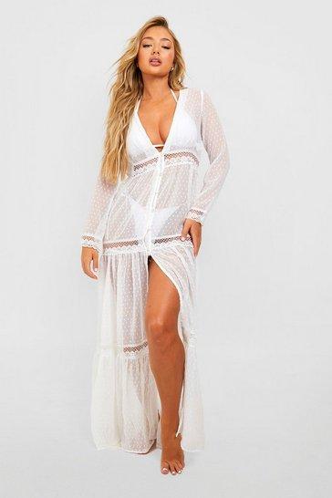 White Boho Lace Beach Dress