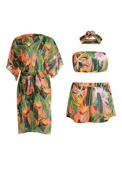 Red Tropicana Four Piece Beach Co-ord Set