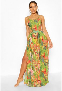 Vestido maxi de playa cut-out y estampado tropical, Rojo