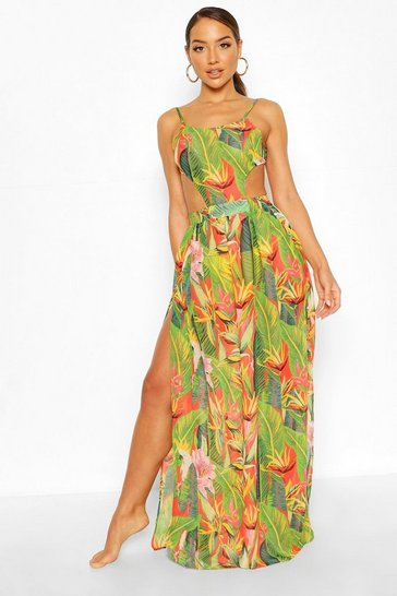 Red Tropicana Cut Out Maxi Beach Dress