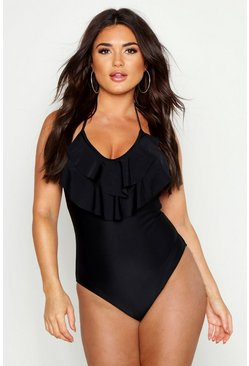 Black Ruffle Halterneck Swimsuit